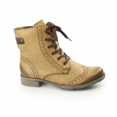 70801-23 Ladies Brogue Lace Up Ankle Boots Brown