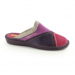 7397 (AFELPADO) Ladies Mule Triangular Panelled Slippers Purple