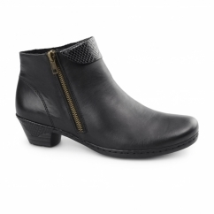 76961-00 Ladies Leather Warm Lined Heeled Boots Black