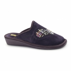 8130 (AFELPADO) Ladies Suede Heart Slippers Purple