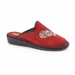 8130 (AFELPADO) Ladies Suede Heart Slippers Red