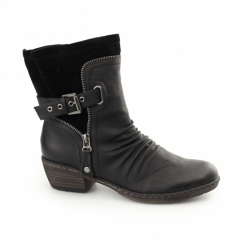 93761-01 Ladies Zip Buckle Biker Boots Black