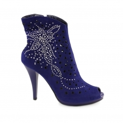 A19 Ladies Zip Up Diamante Stud Stiletto Heeled Boots Blue