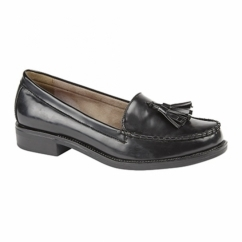 ABBEY Ladies Faux Leather Loafers Black