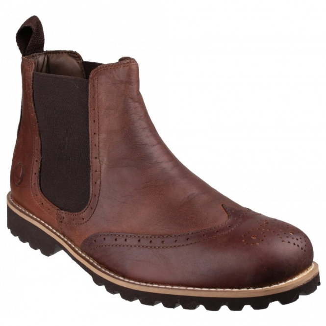 Cotswold ABBEYMEAD Mens Leather Chelsea Boots Brown