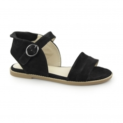 ABIA CHRISSIE Ladies Suede Leather Open Toe Sandals Black
