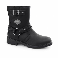 ABNER Mens Leather Zip Harness Boots Black