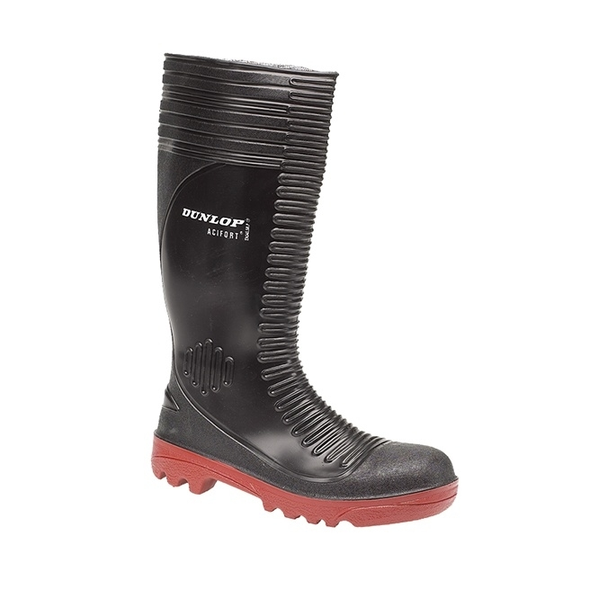 Dunlop ACIFORT RIBBED Mens SB P FO SRA Wellington Safety Boots Black