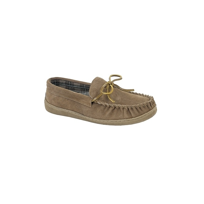 Sleepers ADIE Mens Suede Moccasin Slippers Sand