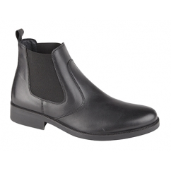 ADLER Mens Leather Chelsea Boots Black