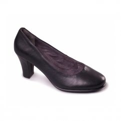 DOLLED UP Ladies Leather Court Heels Black