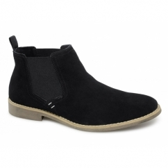 AFARI Mens Suede Leather Chelsea Boots Black