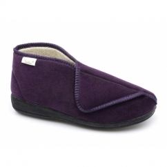 AGNES Ladies Touch Fasten Wide Boot Slippers Purple