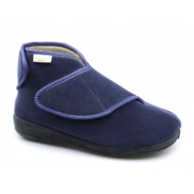 Dr Keller AILEEN Ladies Velour Twin Touch Fasten Boot Slippers Blue