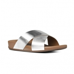 AIX SLIDE™ Ladies Leather Crossover Sandals Silver