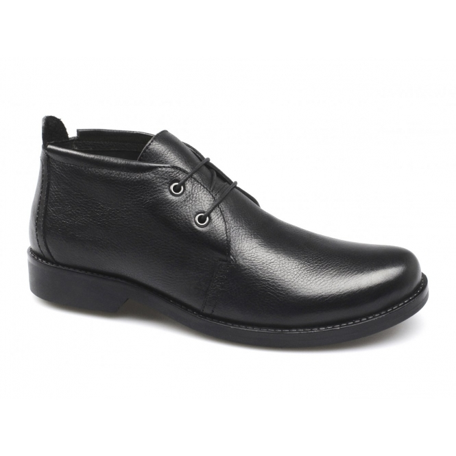 Lucini ALAIN Mens Leather Low Cut Chukka Boots Black