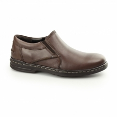 ALAN HANSTON Mens Leather Loafers Dark Brown