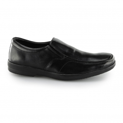 Fleet & Foster ALAN Mens Leather Elastic Slip On Shoes Black | Shuperb