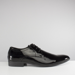Catesby Shoemakers ALBAN Mens Shiny Patent Lace Up Shoes Black