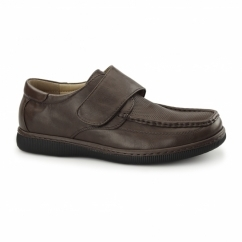 ALBIE Mens Casual Touch Fasten Shoes Brown