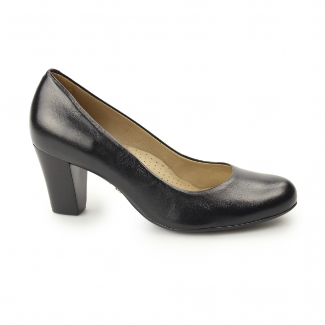 Hush Puppies ALEGRIA Ladies Leather Heeled Court Shoes Black