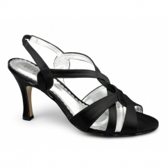 ALENA Ladies Satin Stiletto Strappy Shoes Black