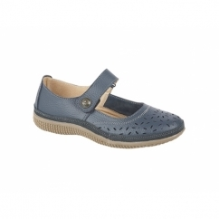 ALEX Ladies Extra Wide EEE Leather Velcro Mary Jane Shoes Navy
