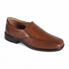 ALEX Mens Leather Slip-On Wide Fit Loafers Light Tan
