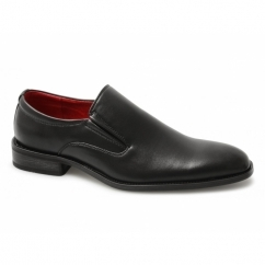 ALFIE Mens Faux Leather Slip On Casual Shoes Black
