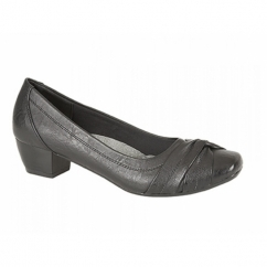 ALISA Ladies Low Block Heel Court Shoes Black