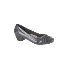 ALISA Ladies Low Block Heel Court Shoes Navy