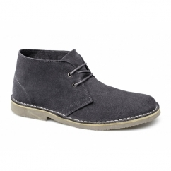 ALISTAIR Mens Suede Leather Desert Boots Grey