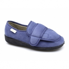 ALIZA Ladies Touch Fasten Full Slippers Shoes Light Blue