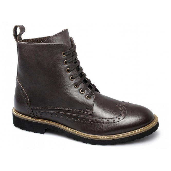 Lucini ALMA Mens Leather Brogue Ankle Derby Boots Brown