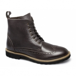 ALMA Mens Leather Brogue Ankle Derby Boots Brown
