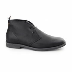 ALPHA Mens Waxy Leather Chukka Boots Black