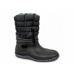 ALPINA Womens Half Length Full Fur Lined Wellington Boots Black