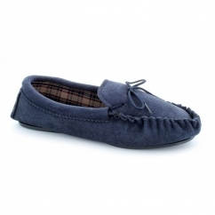 ALWIN Mens Suede Moccasin Slippers Navy