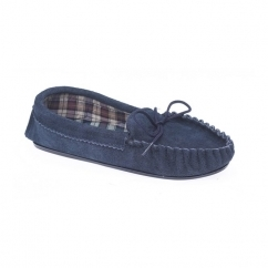 AMANDA Ladies Suede Moccasin Slippers Navy