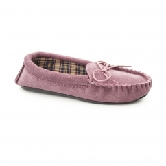 AMANDA Ladies Suede Moccasin Slippers Plum