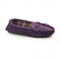 AMANDA Ladies Suede Moccasin Slippers Purple