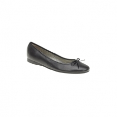 AMBER Ladies Leather Ballerina Flat Shoes Black