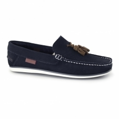 AMBICA Mens Suede Leather Loafers Navy