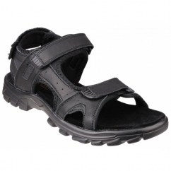 KARL Mens Triple Velcro Nubuck Sports Sandals Black