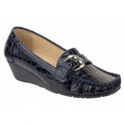 KENSINGTON Ladies Faux Croc Wedge Loafers Navy