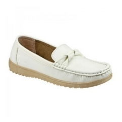 PAROS Ladies Slip On Casual Loafers White