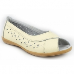 ROCOCO Ladies Leather Peep Toe Flat Shoes Beige