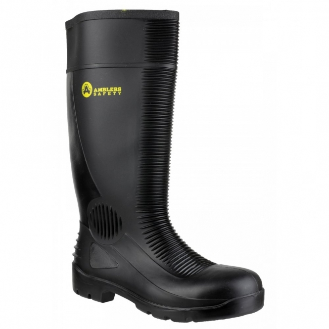 Amblers Safety FS100 Unisex Steel S5 SRA Safety Wellington Boots Black