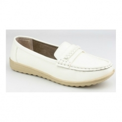 THAMES Ladies Slip On Classic Casual Loafers White