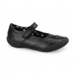 AMERANY Girls Leather Velcro Mary Jane Shoes Black